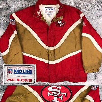 Vintage 90's APEX ONE Pro Line NFL San Francisco 49ers Quilted Puffer Jacket XL