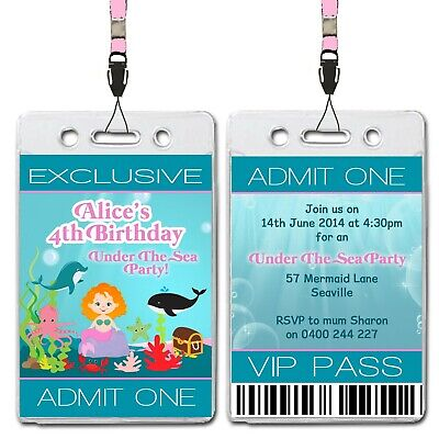Under The Sea Mermaid VIP Lanyard Birthday Invitation - Vip Lanyard Invitations