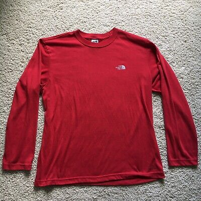Vintage The North Face Red Long Sleeve Polyester Shirt - Men's Size Medium