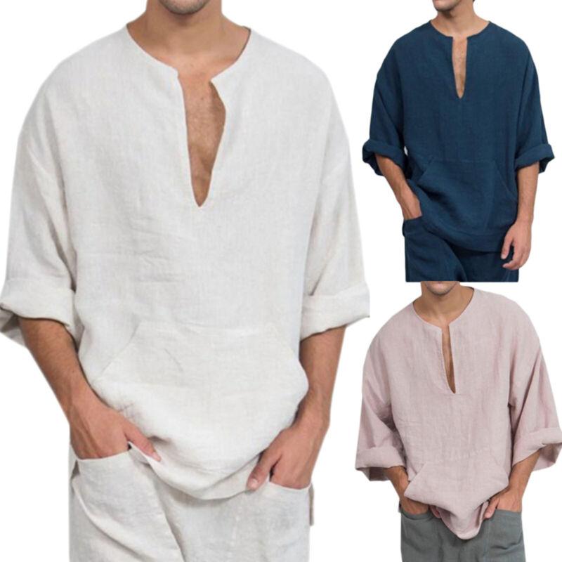 Mens Linen Henley V Neck Shirts Loose Casual Long Sleeve Blo