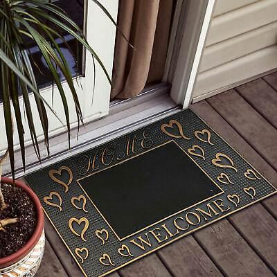 Welcome Door Mat PVC Home Welcome Hear Rubber Mat Entrance Rug Black Gold Gold Door Mat