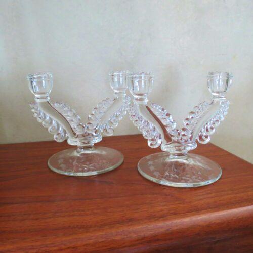 Pair Paden City Art Nouveau Clear Elegant glass Etched