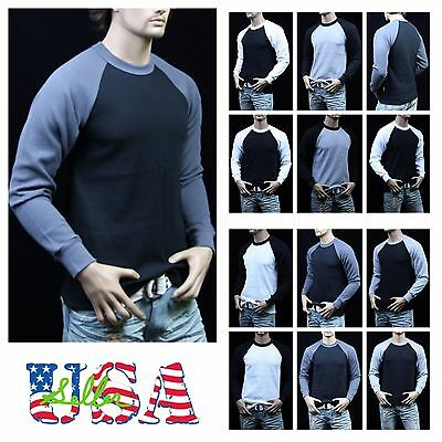 ( Baseball Raglan Long Sleeve T-Shirt Crew neck Heavy Weight Thermal Sweatshirts )