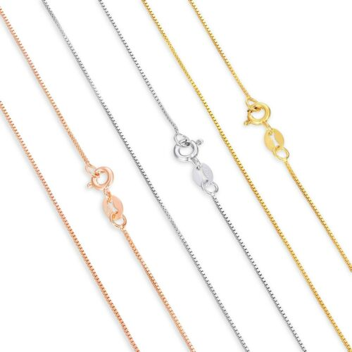 """Solid Sterling Silver Box Chain Necklace - Lengths 14""""- 30"""" Width .7mm Rose Gold"""