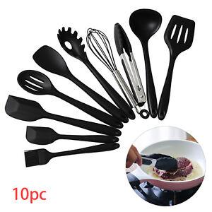 10Pcs Kitchen Silicone Cooking Utensils Set Non-stick Spatula Turner Black