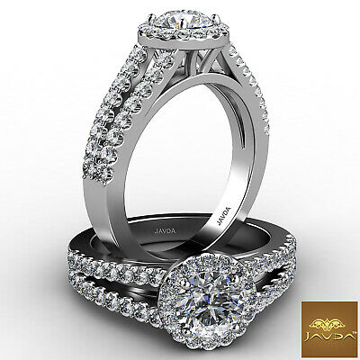 French Pave Set Halo Split Shank Round Diamond Engagement Ring GIA G VS2 1.48 Ct