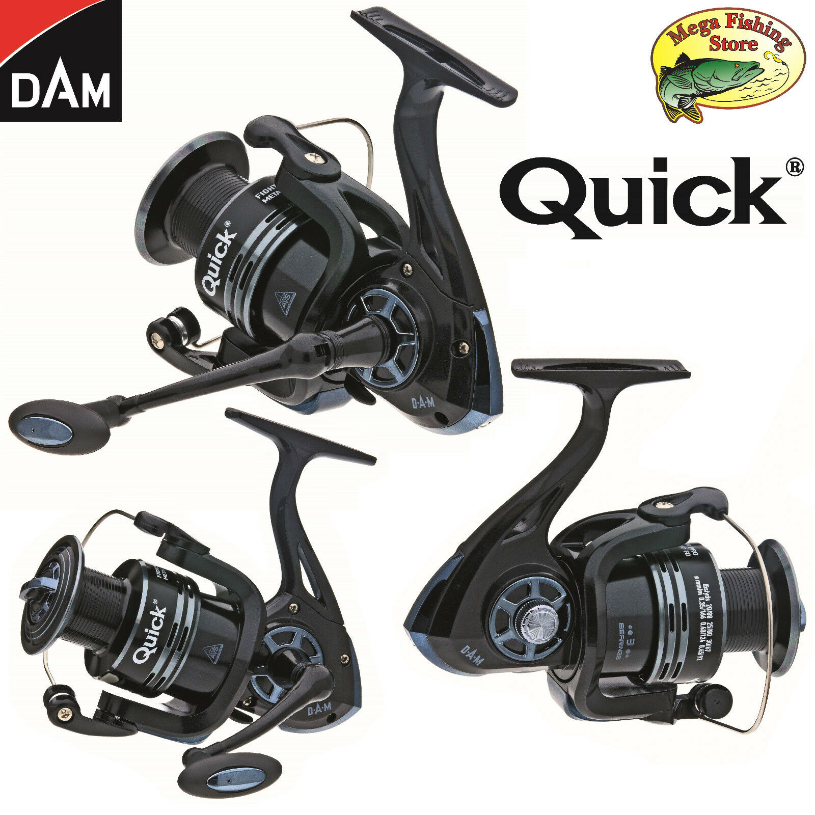 DAM QUICK Fighter Pro Metall Spinrolle - Angelrolle / Spin Rolle - 2000 bis 6000