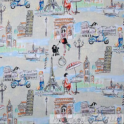 BonEful FABRIC FQ Cotton Quilt Gray Toile Girl French Paris Eiffel Tower Rome US