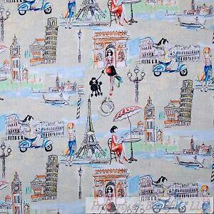 BonEful FABRIC FQ Cotton Quilt Gray Toile Girl French Paris Eiffel Tower Rome US