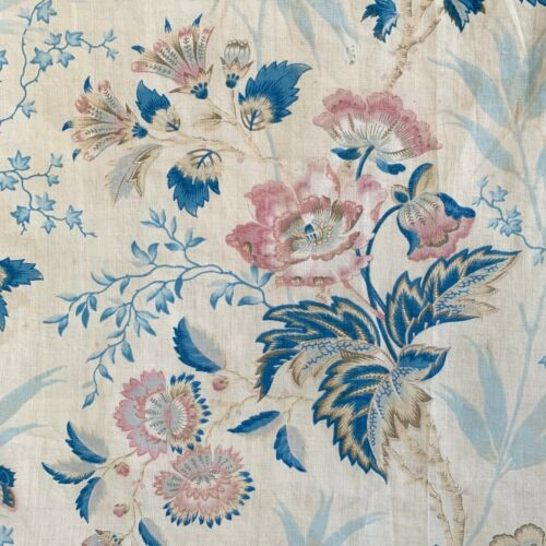 Remarkable antique French fabric bird floral c 1820 or earlier printed linen
