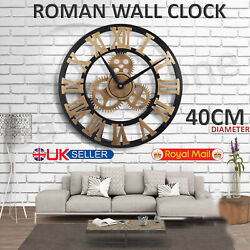 LARGE INDOOR OUTDOOR GARDEN WALL CLOCK ROMAN NUMERALS GIANT OPEN FACE METAL 40CM