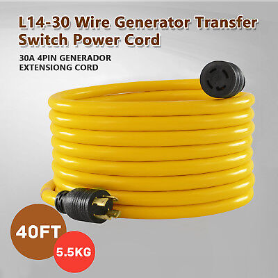30 Amp 40ft Nema L14-30 125250v Wire Generator Extension Switch Power Cord