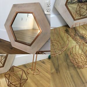 Rose gold mirror and decor items