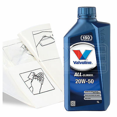 Engine Oil Top Up 1 LITRE Valvoline All Climate 20w 50 1L GlovesWipesFunnel