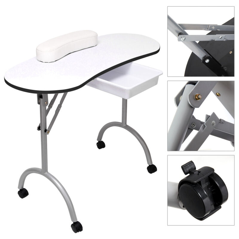 Manicure nail hand table portable salon folding desk w for Fold up nail table