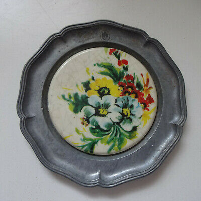 Plate Pewter Decorative Plate Approx. 10 CM Flowers