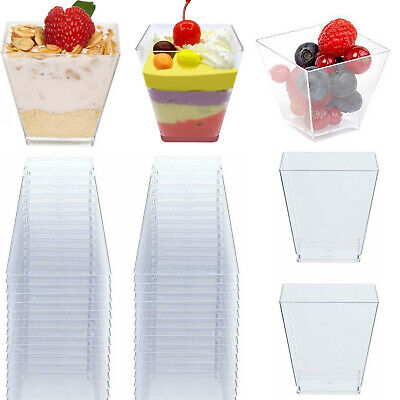 Mini Dessert Plastic Shot Glasses (50 Mini Small Plastic Dessert Drink Fruit Shooters Jelly Cups Shot Glass)