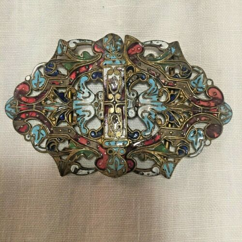 """Gorgeous Antique Buckle Colorful Enamel Gilded Brass Buckle 3"""" Long 1 7/8"""" Wide"""