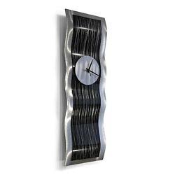 AWESOME WAVE CLOCK Metal Wall Art Clock  Sculpture Silver Black Modern Jon Allen