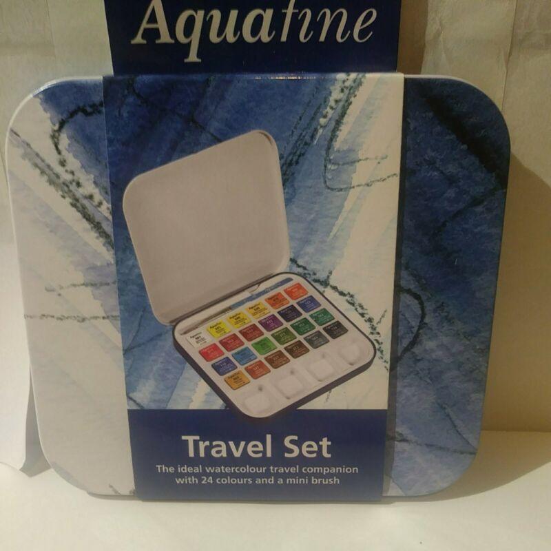 Daler Rowney Aquafine Watercolor Travel Tin Set 24-Colors