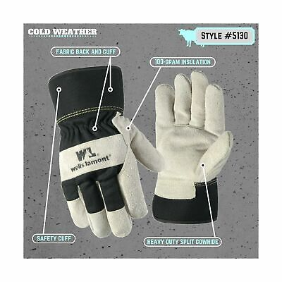 Mens Heavy Duty Leather Palm Winter Work Gloves With Safety Cuff Wells Lamont L