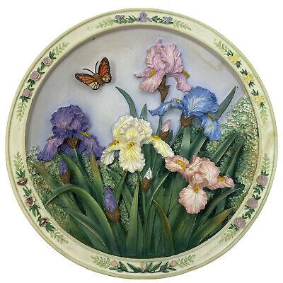 Vtg 1994 Lena Lu BEAUTIFUL GARDENS 3D Collector Plate Bradford BUTTERFLY