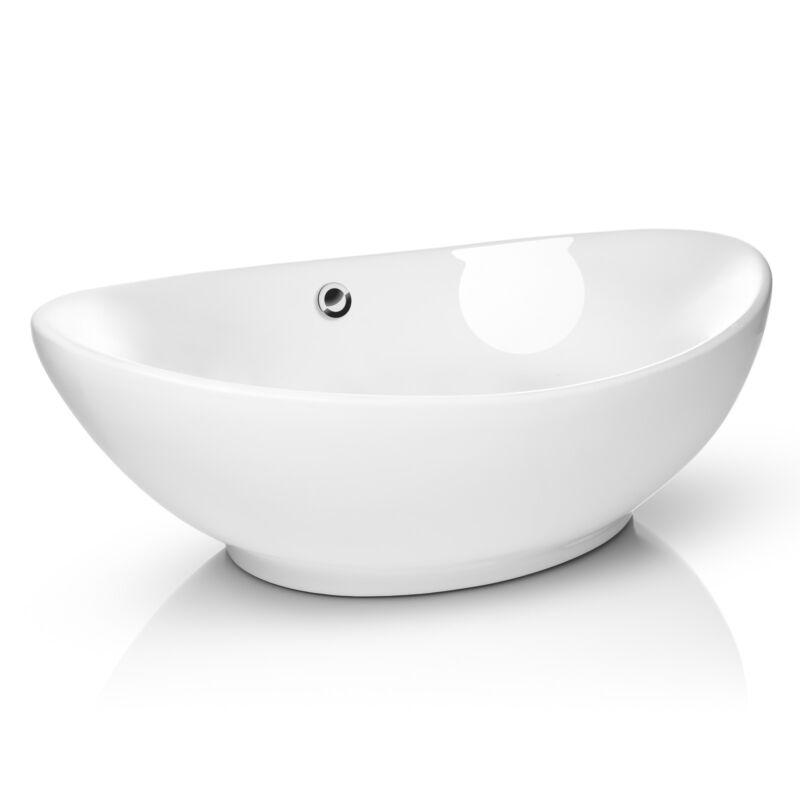 Modern Ceramic Vessel Sink - Bathroom Vanity Bowl - Large Oval White
