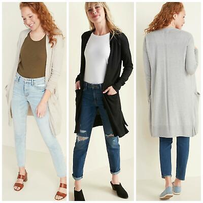 OLD NAVY GAP Ladies Long Pocket Cardigan Open Front Camel Black Grey Beige