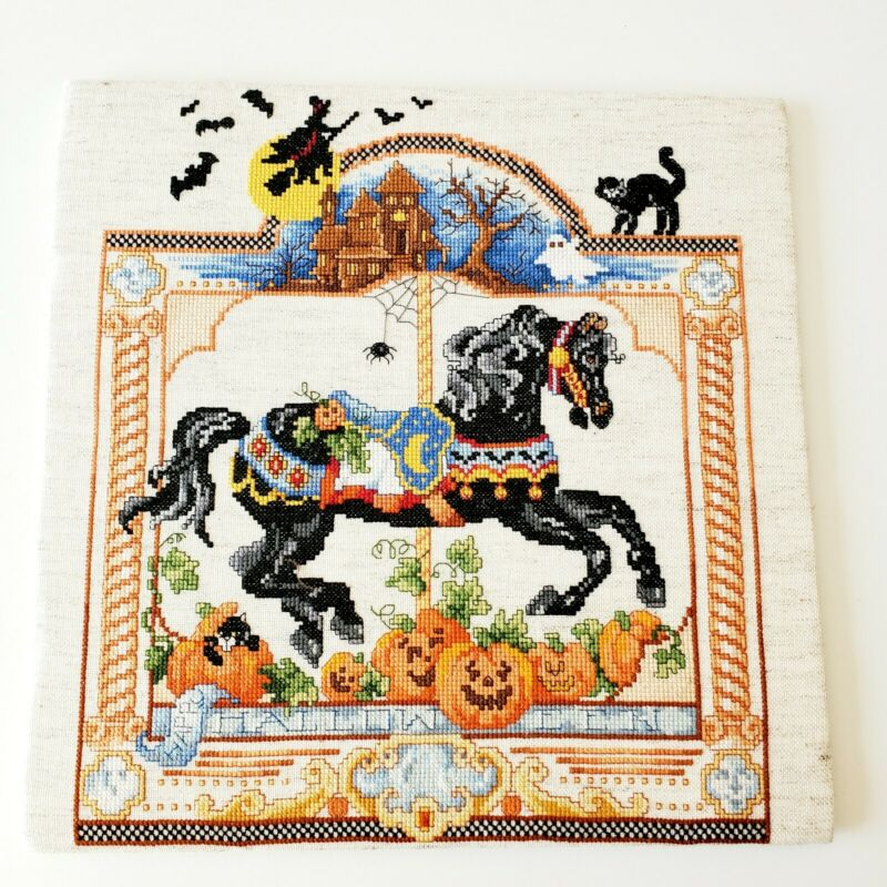 Halloween Carousel Horse Cross Stitch Picture Finished Mounted No Frame