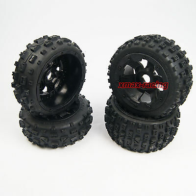 Xmax Knobby Tire front rear 6 Spoke Wheel fit 1:5 HPI Rovan Baja 5B SS KM Buggy