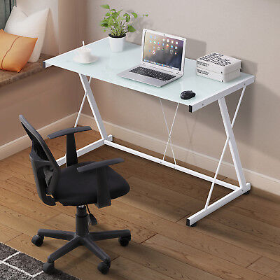 PC Laptop Glass Table White Computer Desk Workstation Office Home Furniture