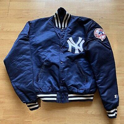 Vintage 1980's New York Yankees Starter Satin Bomber Jacket Snap Front Size L