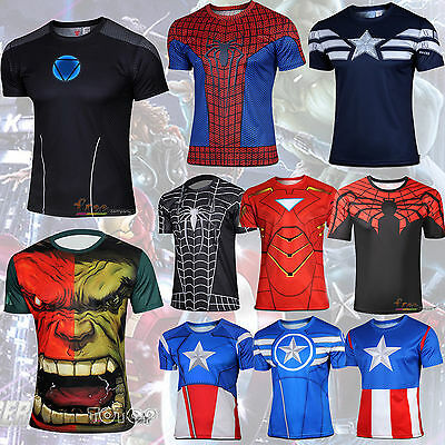 Men T-Shirt Jersey Comics Superhero Avenger Costume Shirt Casual Sports Tee Tops
