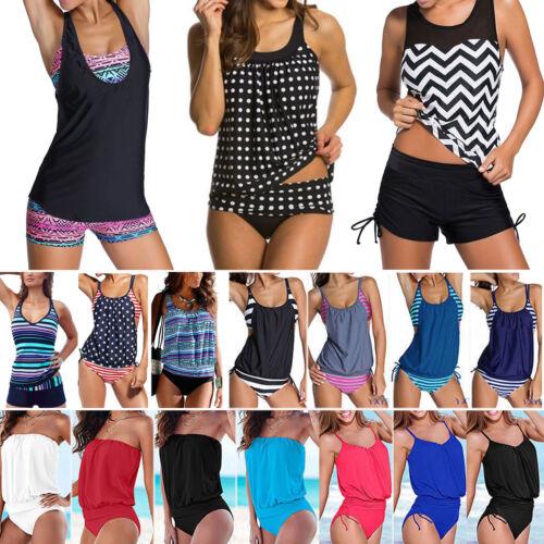 Damen Tankini Set Bikini Bademode Schwimmanzug Sport Badeanzug Strandkleidung 48