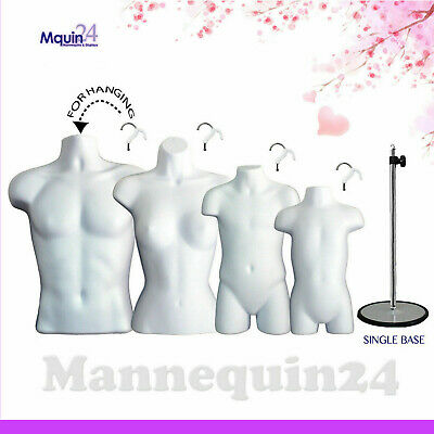 4 Torso Forms White Male Female Child Toddler Body Forms W 1 Stand 4 Hangers