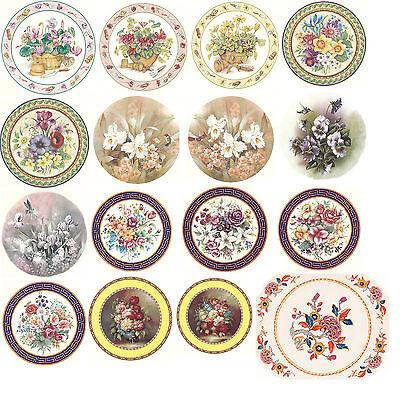 Ceramic Decals Floral Flower Garden Bunch Bowl  Plate Size  Asst. Designs Garden Design Decal