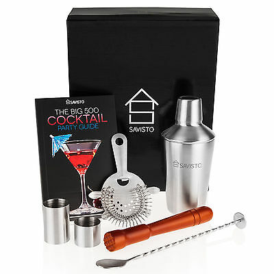 Cocktail Set by Savisto Manhattan Shaker Bar Kit Accessories Mixers Recipe Book