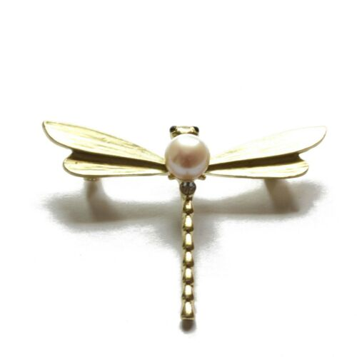 White Dragonfly Freshwater Cultured Pearl Brooch 7.5.-8.0mm
