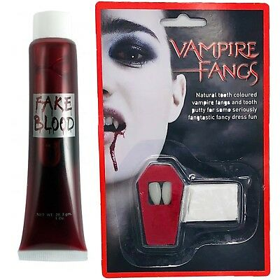 ACULA FANGS AND FAKE BLOOD FANCY DRESS TEETH & PUTTY  (Halloween-kostüme Fake Blood)