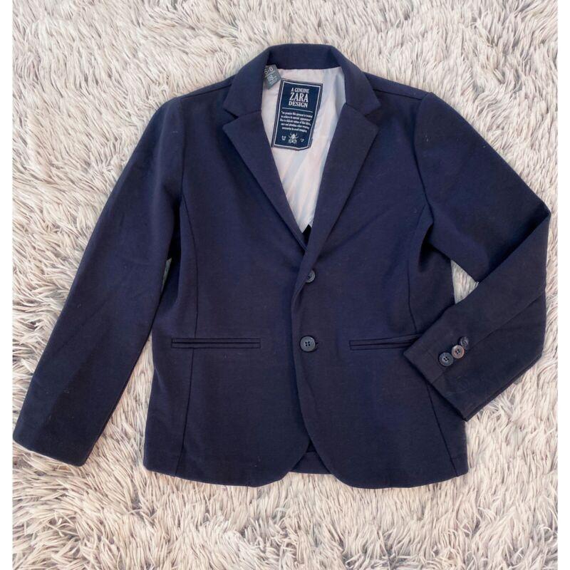 Zara Kids Boys Navy Knit 2 button Blazer Size 5-6