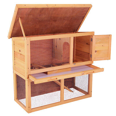 36'' Wood Chicken Coop Rabbit Hutch Waterproof Pet Run House Poultry Animal Cage