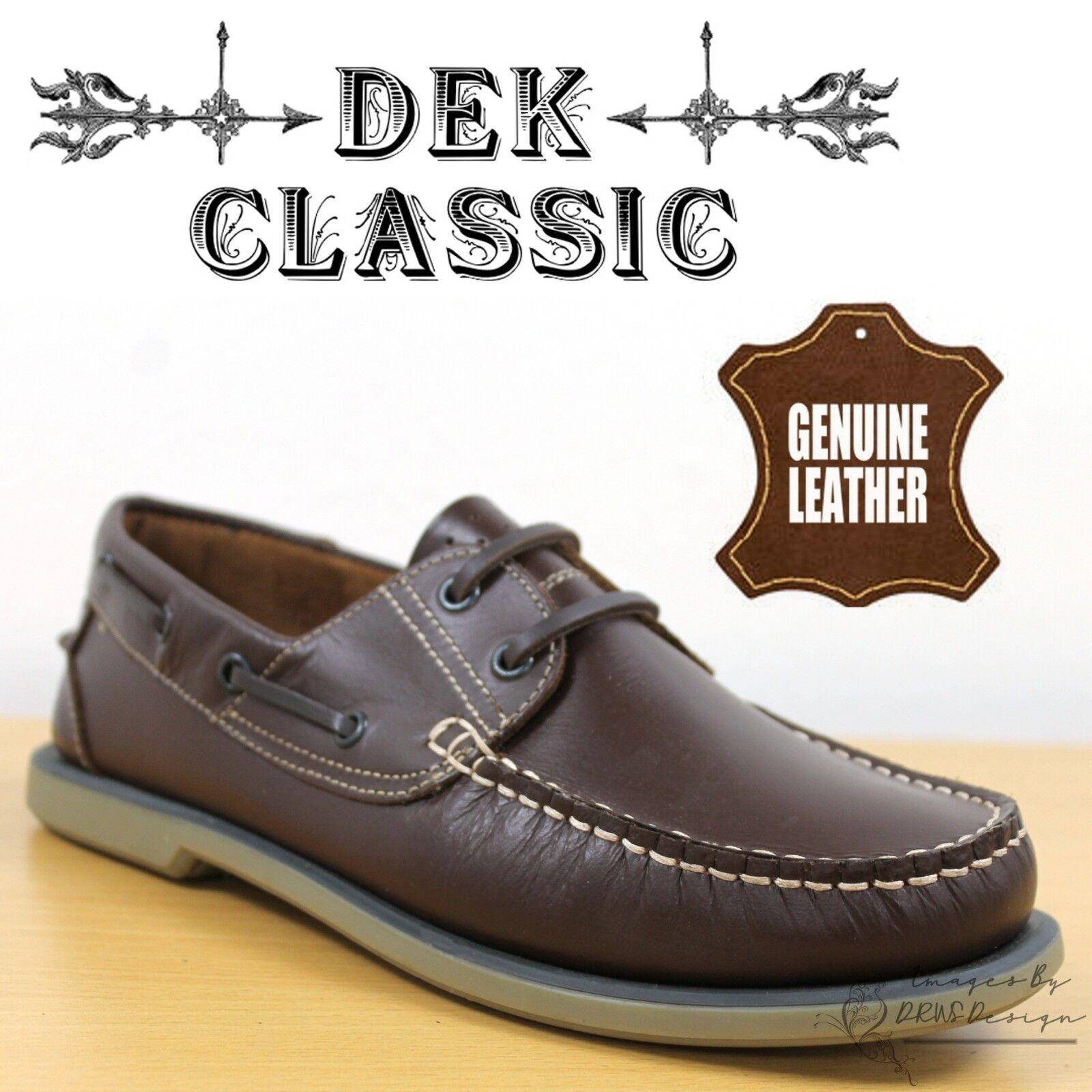 Dek Classics Men S Leather Boat Shoes Brown Smart Casual Comfort