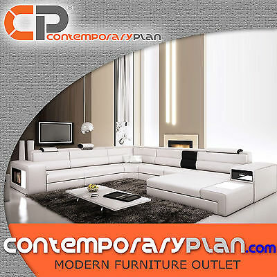 Polaris White Italian Leather Sectional Sofa - Modern Design U Shape -