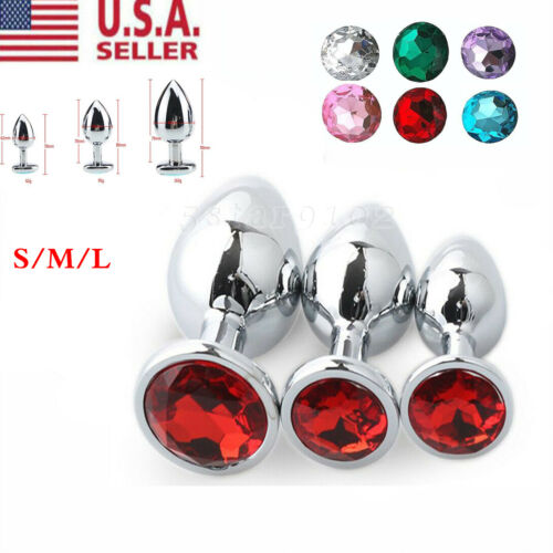 Plug Anal Butt Adult Toys Stopper Stainless Steel Metal Jeweled Round Gem S/M/L