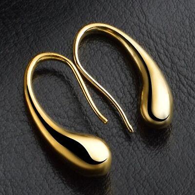 Stunning 18K Yellow Gold Plated Water Tear Drop Dangle Earrings - New - 217
