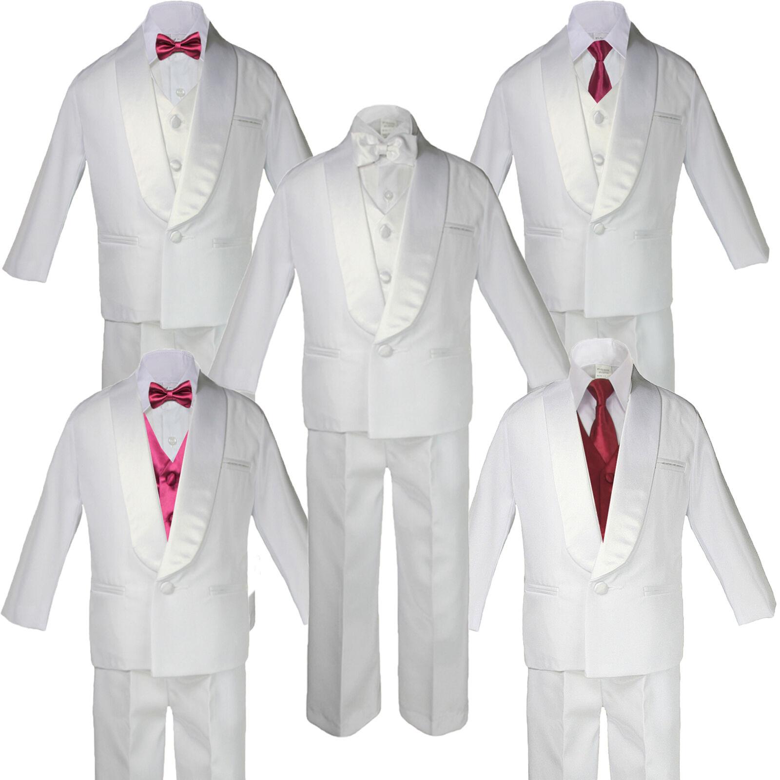 5-7pc Boys White Satin Shawl Lapel Suits Tuxedo Burgundy ...
