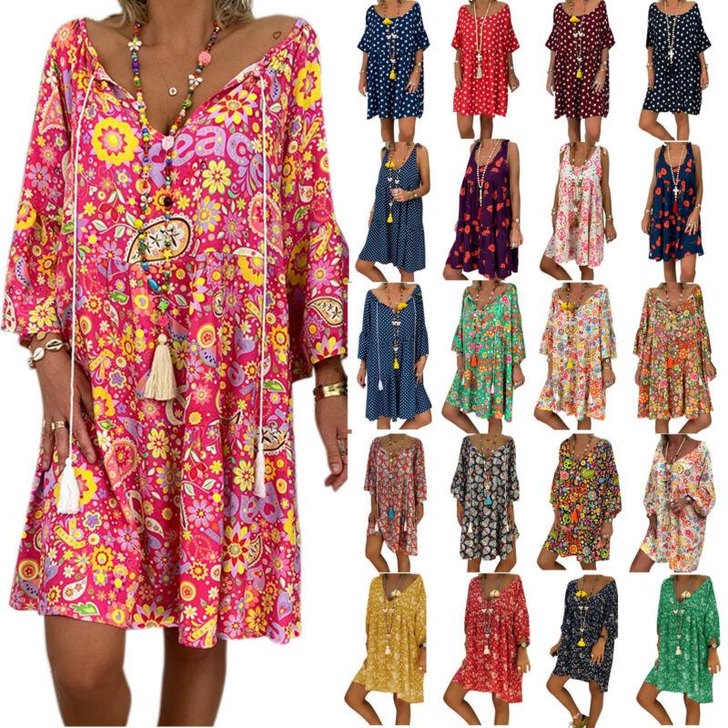 Damen Boho Tunika Kleid Kaftan Baggy Strand Sommerkleid Longtop Minikleid Shirt