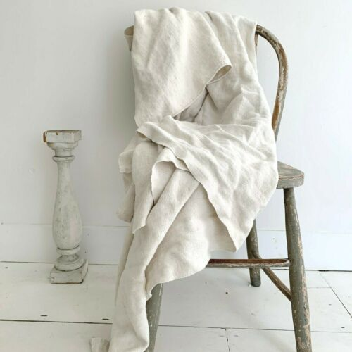 LOVELY nubby  Antique French Linen Sheet 87X57  Floppy  shabby chic fabric