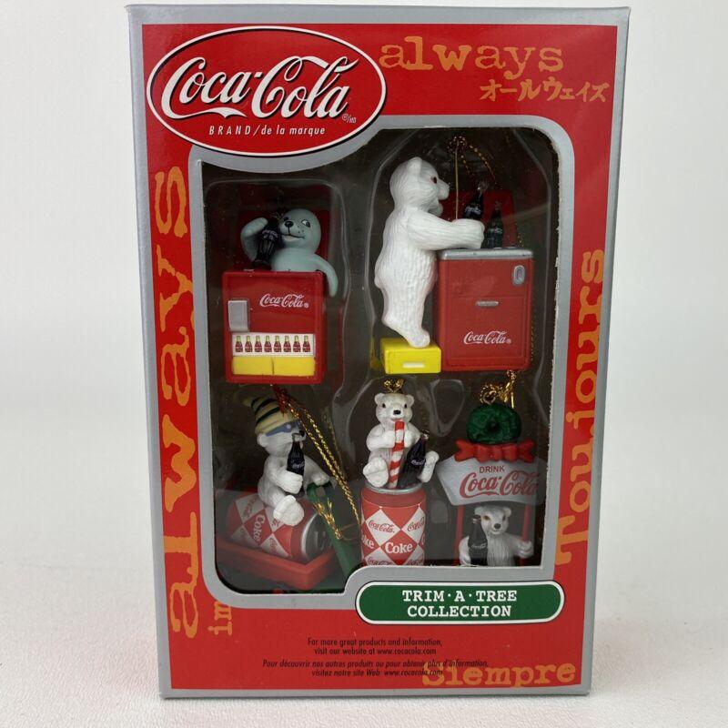 Coca-Cola Trim A Tree Mini Ornaments Collection Christmas Polar Bears 5 Pc Set