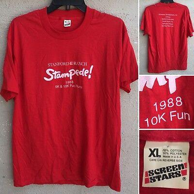 ch Stampede! 1988 5K & 10K Fun Runs T-Shirt XL 80s 1980s (Stanford Ranch)